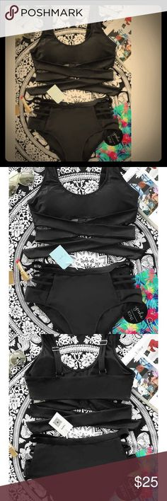 BNWT Cupshe cutout wrap around high waisted bikini Black. Padded. Adjustable straps. Wrap around top ties in back. Bottom is high waisted with cut out sides. Love it but too small  Swim Bikinis