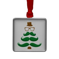 Christmas Mustache Tree Christmas Tree Ornament ( Weekend Holiday Sale! 50% OFF Wrapping Paper & Ornaments ! Use Code: HOLIDAYWRAP1 )