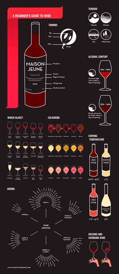 Wine Infographic including Wine Glass types and an interesting index of wine coloring.