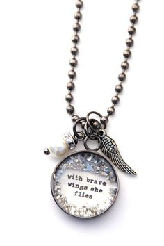 With Brave wings she flies SMALL Charm  by bethquinndesigns, $35.00