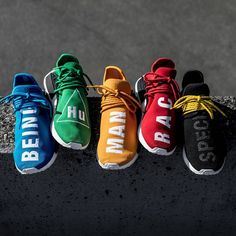 adidas continues its collaborative relationship with musician and multi-faceted creative- Pharrell Williams with the highly anticipated release of their customized NMD trainer pack. Utilizing the 3 stripe's latest in proprietary technology, the 5 colour pack features Primeknit and Boost equipped builds and come finished with Pharrell's distinct Human Race branding boldly placed along the fore foot. RELEASE TERMS & CONDITIONS | The Pharrell NMD Pack will be made available through a luck…