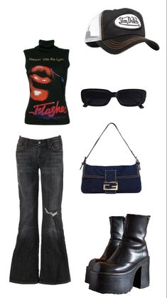 Edgy Outfits, Retro Outfits, Cute Casual Outfits, Fashion Outfits, Aesthetic Fashion, Aesthetic Clothes, Looks Chic, 2000s Fashion, Polyvore Outfits