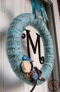 monogram yarn wreath (for above fireplace on mantel or front door?)