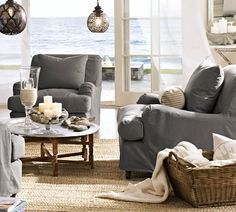 Beach Cottage Chic Living Room with an amazing view!