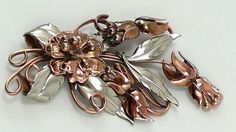 Brooch HUGE Floral Spray Polished Copper Toned & Silver Tone Fuchsia Flowers  #Unbranded