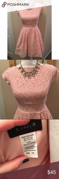 """Gorgeous lace party dress This dress is in perfect condition. Tags removed but it was not worn. The dress has a lining with a small crinoline layer underneath that makes it """"pouf"""" out. Front is a high boat neck, back is very slight scoop. Measurement from underarm to end of skirt is 23."""" Measurement across bust is 14."""" Waist is 12.5."""" Size is 3/4 in juniors. The back zips up but does not have a hook/eye closure. It's not missing, that's just how it was made. ❤ B.Darlin Dresses"""