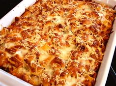 Chicken Parmesan bake. No frying, just baking. It's lower in fat, takes only about 10 minutes to put together!