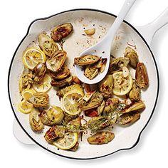 Pan-Roasted Artichokes with Lemon and Garlic {Cooking Light - 128 calories per 6 artichoke halves}