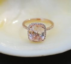 Rose gold engagement ring. Peach sapphire 3.98ct by EidelPrecious