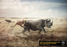 Opel, Animal Collision Campaign. German agency Scholz & Friends has made a very creative and funny campaign for the car brand Opel and their collision alert option. Wild animals are represented and one of the two collapses on the other's bottom, as to imitate a car collision. http://www.fubiz.net/en/2014/05/28/opel-animal-collision-campaign-2/