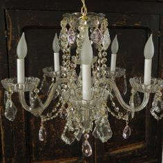 Vintage Crystal Five Arm Chandelier  Pink French Cut Crystals