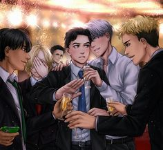 Ahaha everyone s trying to get Yuuri to drink more but he obviously tries his best to decline