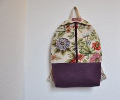 tapestry canvas backpack, rucksack backpack, canvas backpack, boho backpack, women backpack by GalelBags on Etsy