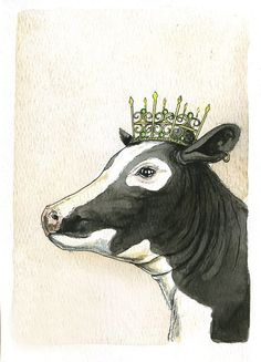 This artwork are titled Cow Queen. It is part of my kings and queens series. This unique print is printed on 140 lb. Poor Dog, Cow Art, Sculpture, Farm Animals, Funny Animals, Cattle, Moose Art, Hand Painted, Painted Rocks