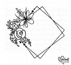 Hand Embroidery Patterns Flowers, Embroidery Art, Hand Embroidery Designs, Monogram Wreath, Monogram Frame, Flower Frame, Flower Svg, Transfer Paper, Cricut Design