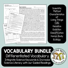 Science terminology doesn't have to be overwhelming. Each of our integrated literacy activities includes a teacher-written, student-friendly reading that introduces new terminology in a fun and engaging way while providing differentiated options that can be given at the teacher's discretion. Includes DIGITAL GOOGLE CLASSROOM links! Biology Lessons, Science Lessons, Life Science, Science Vocabulary, Teaching Science, Scientific Method Lesson, Human Body Activities, Word Walls, Middle School Science