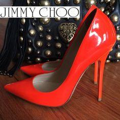 """✨SOLD✨💯✔️JIMMY CHOO Neon Flame Pumps 36/6 ✨✨✨✨✨✨✨✨✨✨✨✨✨✨✨ ʟɪᴍɪᴛᴇᴅ ᴇᴅɪᴛɪᴏɴ ᴡᴏʀɴ ʙʏ sᴛᴀʀs ʟɪᴋᴇ ᴊʟᴏ 💯Authentic ᴊɪᴍᴍʏ ᴄʜᴏᴏ Pumps in a striking Neon Orange or as Jimmy Choo calls it 🍊Neon Flame 🔥Size 36 😽😽😽😽😽😽😽😽😽😽 4.5""""HEELS / worn three times. No box or dust Bag. Jimmy Choo Shoes Heels"""