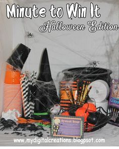 Minute To Win It Halloween Edition Printable Family Game | Etsy Classroom Halloween Party, Halloween Activities For Kids, Halloween Party Games, Halloween Fun, Family Game Night, Family Games, Sticky Web, Minute To Win It Games, Games Images