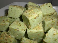 pistachio fudge~~ this didn't have a recipe or site so I did a search... http://www.grouprecipes.com/62814/pistachio-fudge.html   :)