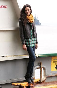 casual fall, ankle boots, fall outfits, plaid shirts, leather jackets, casual outfits, fall styles, fashion model, jou jou