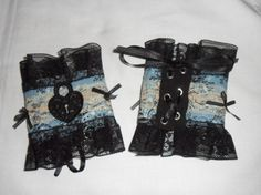 UK Gorgeous Black blue ivory gothic lace heart lock & key applique, steampunk, hand made, pair vintage fabric cuffs. £25.00, via Etsy.