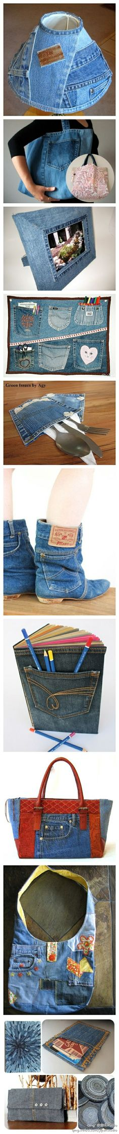 What to do with old jeans - some ideas are a little weird, the lamp one for example, but others are great ways of recycling