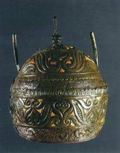 Celtic helmet with coral and bronze decorations  (IV century BC) found in a tomb at Canosa, Southern Italy. As the Agris helmet in France, this artifact shows the match between Celtic and Italic cultures, more or less influenced by Etruscan and Greek models.