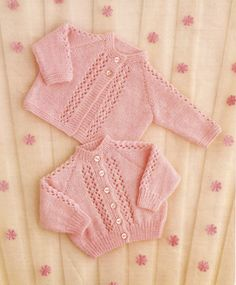 """PDF Knitting Pattern Baby Knitted Matinee Coat and Cardigan 16-20"""" (KY132)"""