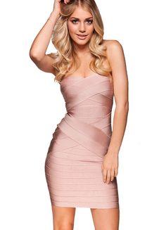 'Leyla' Nude Strapless Bandage Dress