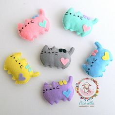 ** The listing is for MADE TO ORDER a Set of Pusheen Cat ** These pusheen cat are a lovely kawaii touch for your baby shower, birthday party decor, party favor, cake topper or hung in your baby nursery or toddler room. They are also cute gifts for your dearest family, friends, neighbour,