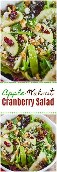 This Apple Walnut Cranberry Salad includes a Mixed Green Spinach Salad with Green Apples, Dried Cranberries, Walnuts and Gorgonzola Cheese. This salad explodes with flavor. Apple Walnut Cranberry Salad - Flavor Mosaic Lydia Tomanek I'd Eat T Easy Salads, Healthy Salad Recipes, Summer Salads, Healthy Snacks, Vegetarian Recipes, Healthy Eating, Cooking Recipes, Side Salad Recipes, Diabetic Recipes