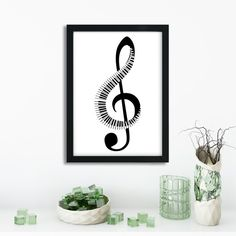 Music Gift | Music Note | Music Poster | Piano Keys | Gift for Music Lover | Treble Clef Print | Piano Teacher Gift | Piano Poster