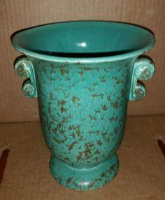Red Wing Rumrill Tab Handled Vase HTF Glaze Green & Copper Fleck #630 #RedWingRumrill