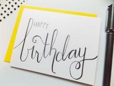 Items similar to Birthday Card - Happy Birthday Card -Handmade Birthday Card - Birthday Card For Her- SImple Birthday Card -Birthday Card for Him -For Friend on Etsy Happy Birthday Cards Handmade, Simple Birthday Cards, Birthday Cards For Friends, Happy Birthday Greeting Card, Handmade Greetings, Happy Birthday Wishes, Friend Birthday, Calligraphy Birthday Card, Happy Doodles