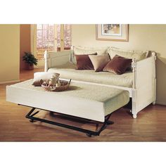 Monterey French Daybed with Pop-up Trundle Finish: Distressed White - http://delanico.com/daybeds/monterey-french-daybed-with-popup-trundle-finish-distressed-white-524766121/