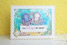 Hello my crafty friends! It's Lesley here – I am back in the UK and my crafty fingers were ITCHING to get playing with these Octopi stamps!! Oh geez, they are so CUTE!! One of the Honey…