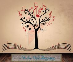 Abstract Music Staff Tree Decal -Free Shipping! Removable Vinyl Note Wall Art Nursery Decoration Custom Retro Design Sticker Transfer #T025 on Etsy, $39.95