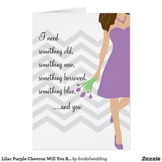Shop Lilac Purple Chevron Will You Be My Bridesmaid Invitation created by bridalwedding. Be My Bridesmaid Cards, Will You Be My Bridesmaid, Wedding Bridesmaids, Aqua Wedding, Custom Invitations, Invitation Cards, Wedding Invitations, Purple Chevron, Navy Blue