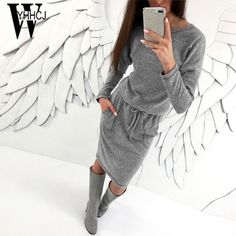 WYHHCJ new warm knit women sweater dresses o-neck solid autumn/winter dress bodycon pockets sashes thicken women dress robe 2017