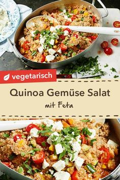 salad with feta and vegetables - A pleasure hot or cold: Quinoa vegetable salad with feta and parsley. -Quinoa salad with feta and vegetables - A pleasure hot or cold: Quinoa vegetable salad with feta and parsley. Quinoa Salat Feta, Bulgur Salad, Couscous Salat, Plats Healthy, Healthy Salads, Mexican Food Recipes, Vegetarian Recipes, Dinner Recipes, Vegetarian Lifestyle