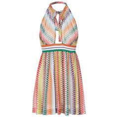 Missoni Mare Women's Knit Crochet Detail Halter Dress ($695) ❤ liked on Polyvore featuring dresses, multi, empire waistline dresses, halter-neck dress, empire waist halter dress, semi sheer dress and halter neck dress