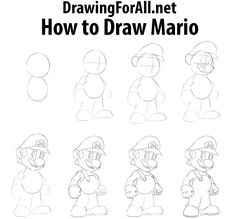 Drawing For Beginners How to Draw Mario - Today we present you a new drawing lesson, in which we will focus on the most famous plumber in the world – Mario. Easy Disney Drawings, Art Drawings For Kids, Drawing For Kids, Cartoon Drawings, Easy Drawings, Dope Cartoon Art, Simple Cartoon, Basic Drawing, Drawing Lessons