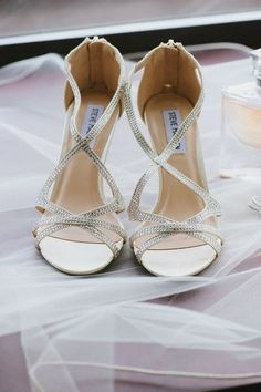 Strappy silver heels for bridal shoes {Stefania Bowler Photography}