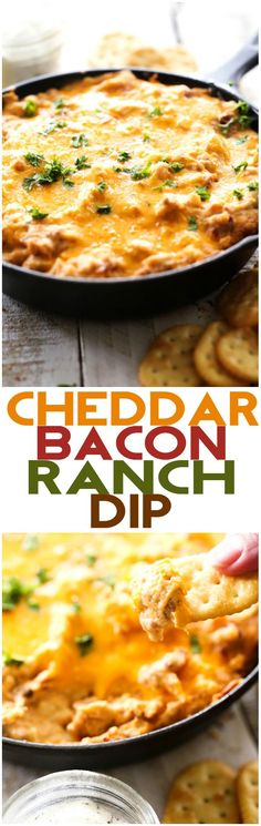 Cheddar Bacon Ranch Dip... this stuff is so addictive! The flavor is beyond delicious and is a fabulous appetizer for company!