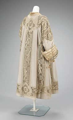Fabulous American Wool, Silk, and Linen Evening Coat (back), circa 1905