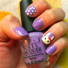 Here's how to paint a Hello Bunny on your tips! Love this OPI Do You Lilac It polish ! Easter Nail Art, Finger Nail Art, Nail Tips, Pretty Nails, Halloween Ideas, Art Ideas, Nail Designs, Bunny, Nail Polish