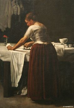 François Bonvin (1817-1887)-'woman ironing'-oil on canvas-1858 Philadelphia-Museum of Art