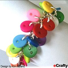 Look what Kim whipped up this week with just a few basic supplies from eCrafty.com. A fun charm bracelet and earring set made with our new 9mm resin buttons mix. With just one bag of 6mm jump rings…