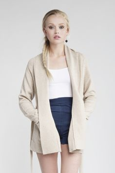 MASKA Eva wool wrap cardigan   100% extra fine lambswool   Knitted in the EU