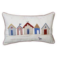 Beach Huts Filled Cushion - £7.99